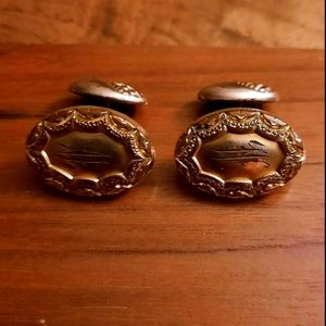 Vintage letter signed gold tone man cufflinks